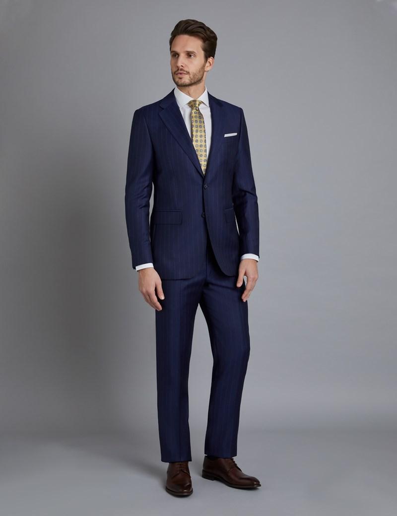Men's Navy Wide Stripe Slim Fit Italian Suit - 1913 Collection