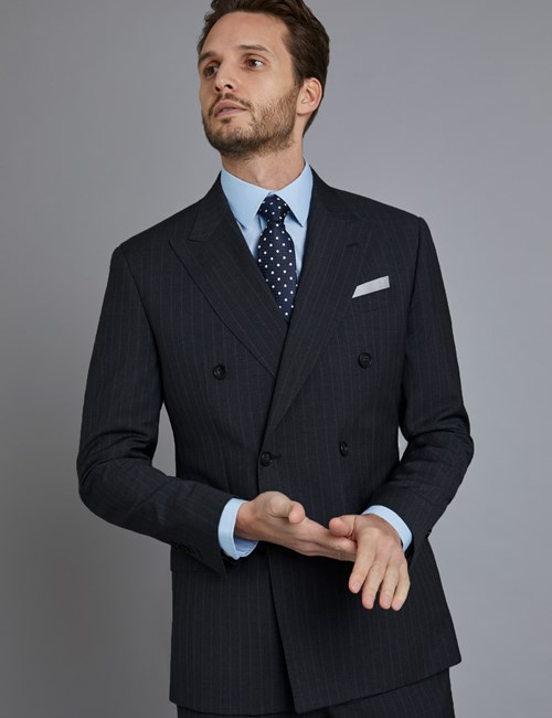 Men's Grey Tonal Stripe Tailored Fit Double Breasted Italian Suit Jacket - 1913 Collection