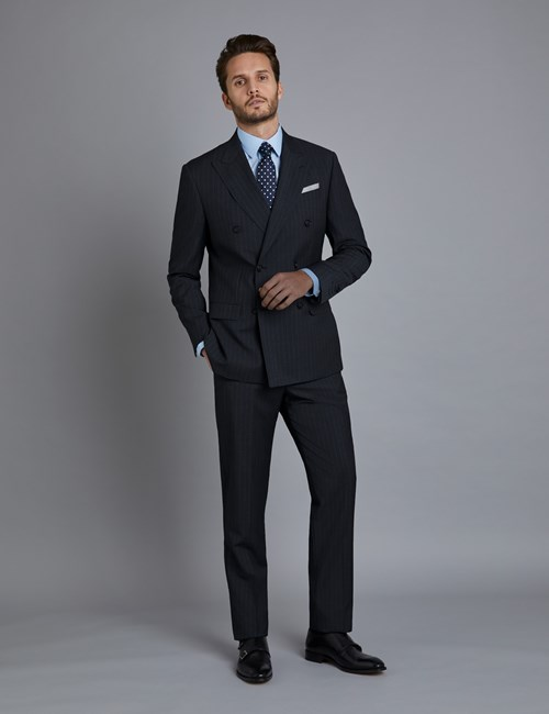 Men's Grey Tonal Stripe Tailored Fit  Italian Suit - 1913 Collection
