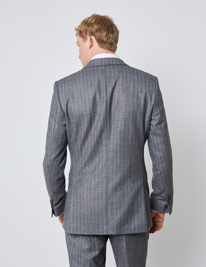 Men's Grey & Brown Herringbone Stripe Slim Fit Italian Suit Jacket – 1913 Collection