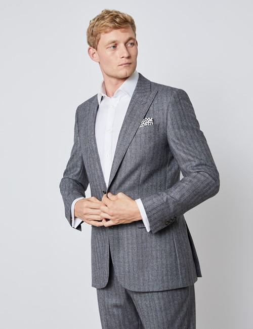 Men's Grey & Brown Herringbone Stripe Slim Fit Italian Suit Jacket – 1913 Collection