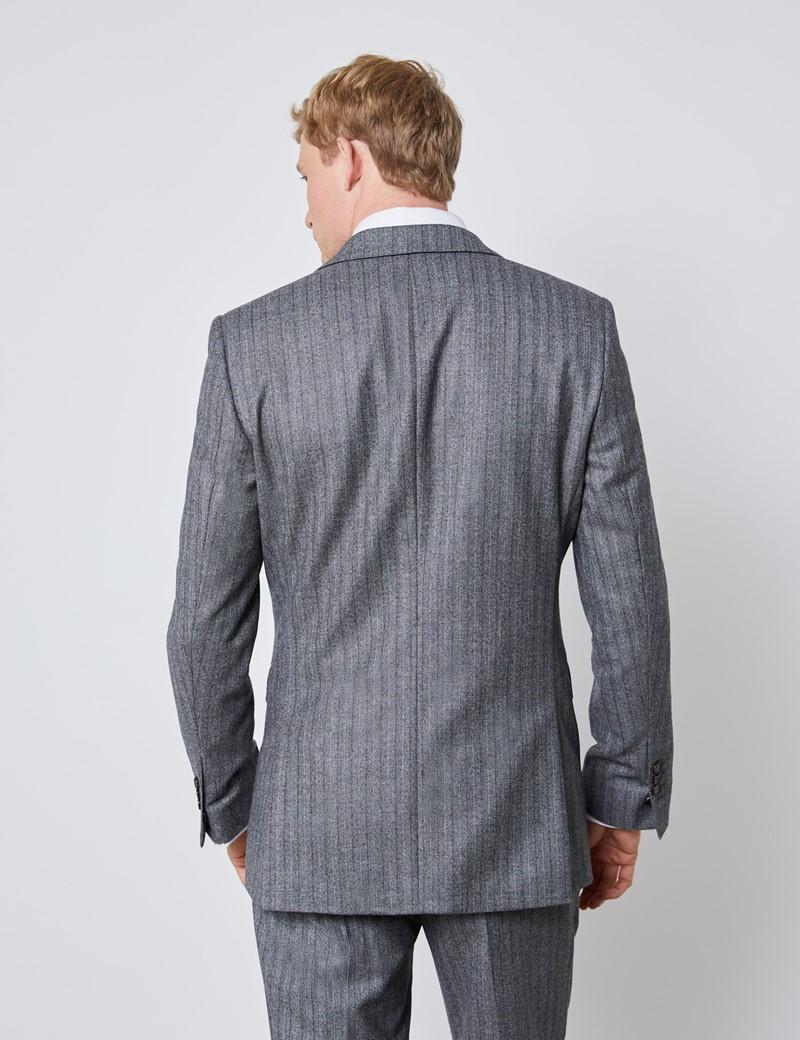 Men's Grey & Brown Herringbone Stripe Slim Fit Italian Suit – 1913 Collection