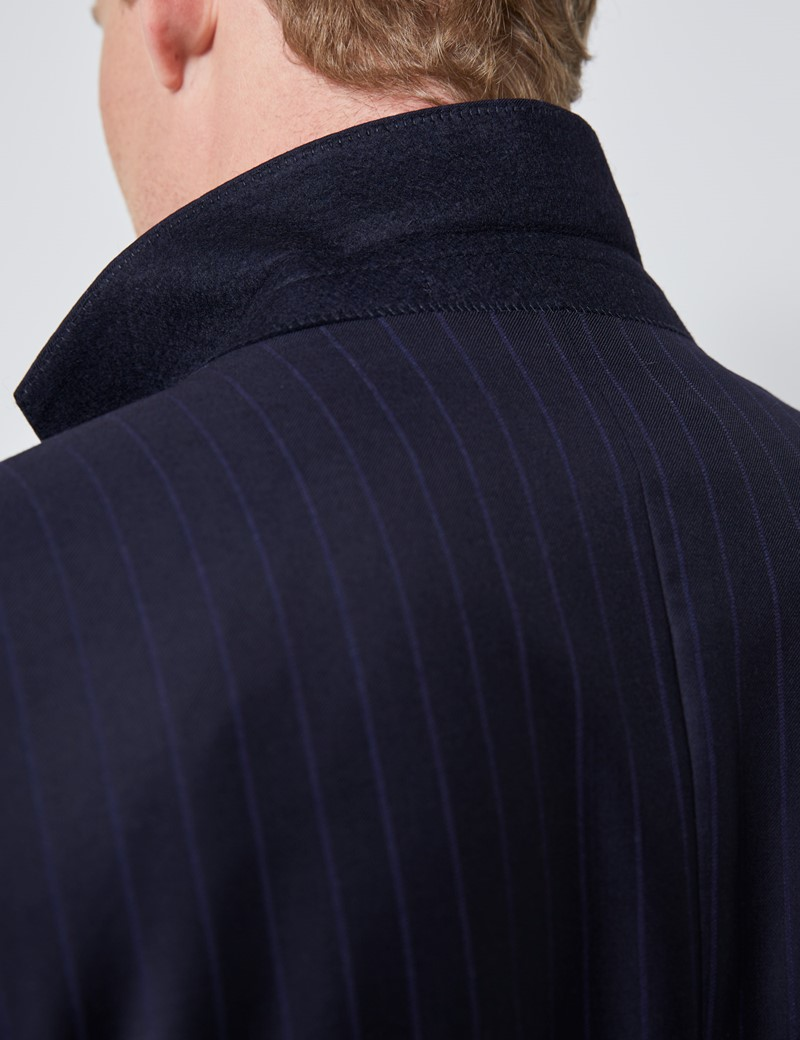 Men's Navy Tonal Stripe Tailored Fit Italian Suit Jacket - 1913 Collection
