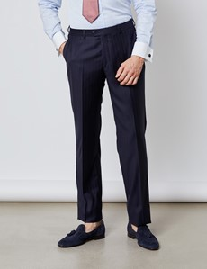 Men's Navy Tonal Stripe Tailored Fit Italian Suit - 1913 Collection