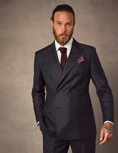 Men's Charcoal Chalk Stripe Tailored Fit Double Breasted Italian Suit Jacket - 1913 Collection
