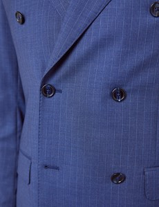 Men's Blue Stripe Tailored Fit Double Breasted Italian Suit Jacket - 1913 Collection