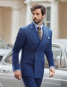 Men's Blue Guarded Stripe Tailored Fit Double Breasted Italian Suit Jacket - 1913 Collection