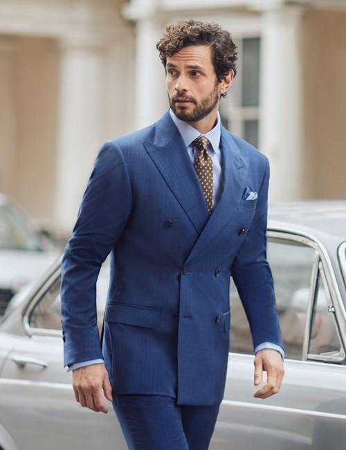 Anzugsakko 1913 Kollektion - Tailored Fit - blau Streifen & Karo - 110S Wolle - Zweireiher