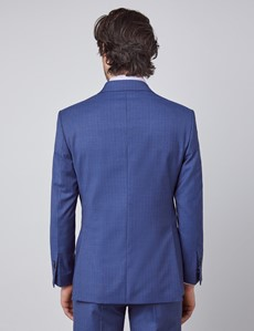Men's Blue Guarded Stripe Tailored Fit Double Breasted Italian Suit - 1913 Collection