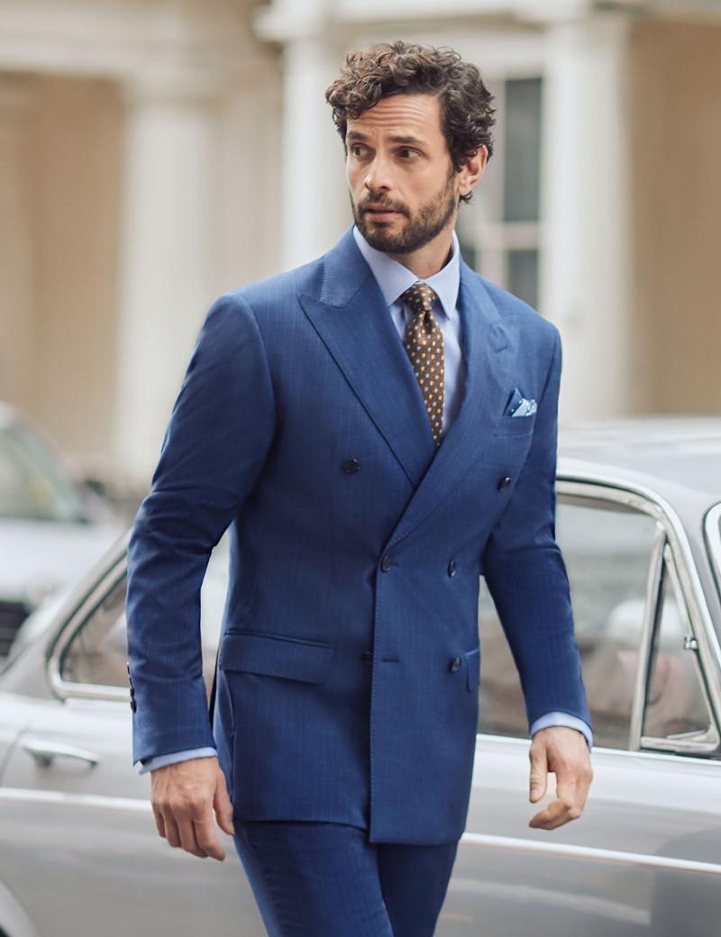 Anzug 1913 Kollektion - Tailored Fit - blau Streifen & Karo - 110S Wolle - Zweireiher