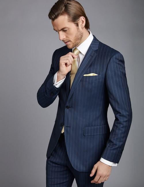 Men's Dark Blue Pinstripe Slim Fit Suit Jacket