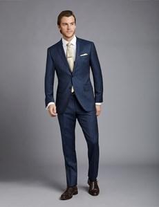 Men's Dark Blue Pinstripe Slim Fit Suit