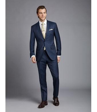 Anzug aus strapazierfähiger 100s Wolle - Slim Fit - Nadelstreifen dunkelblau