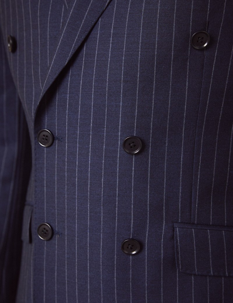 Men's Navy Chalk Stripe Double Breasted Slim Fit Suit Jacket