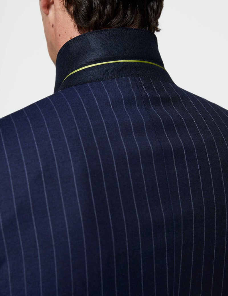 Men's Navy Chalk Stripe Double Breasted Slim Fit Suit Jacket