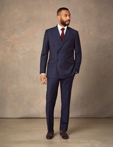 Men's Navy Chalk Stripe Double Breasted Slim Fit Suit