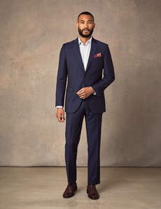 Men's Navy Chalk Stripe Slim Fit Suit Jacket