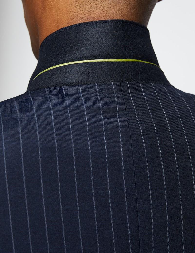 Men's Navy Chalk Stripe Slim Fit Suit Jacket