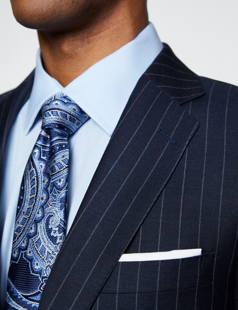 Men's Navy Chalk Stripe Slim Fit Suit