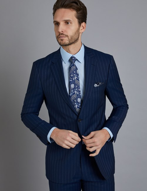 Men's Dark Blue Pinstripe Classic Fit Suit Jacket