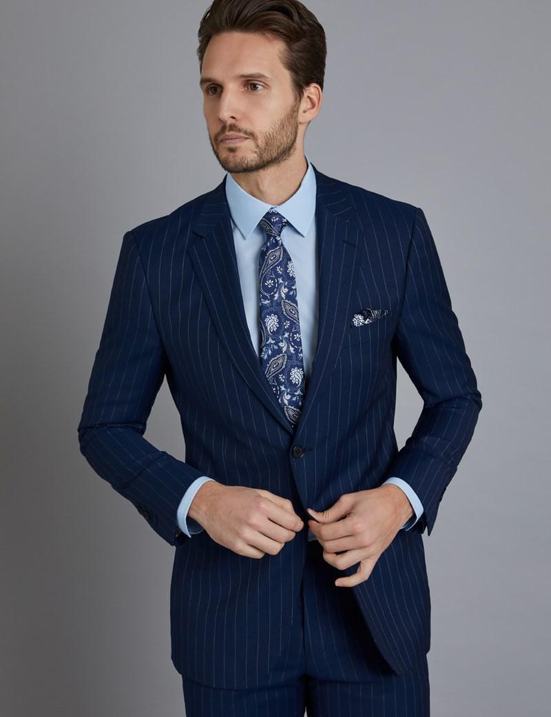 Men\u0027s Dark Blue Pinstripe Classic Fit Suit Jacket