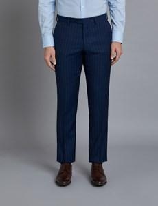 Men's Dark Blue Pinstripe Classic Fit Suit