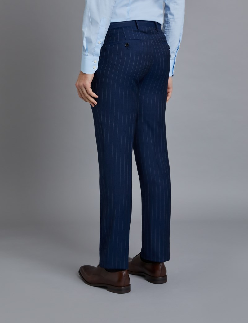 Men's Dark Blue Pinstripe Classic Fit Suit