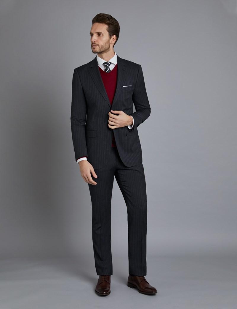 Men's Dark Grey Stitch Stripe Classic Fit Suit Jacket