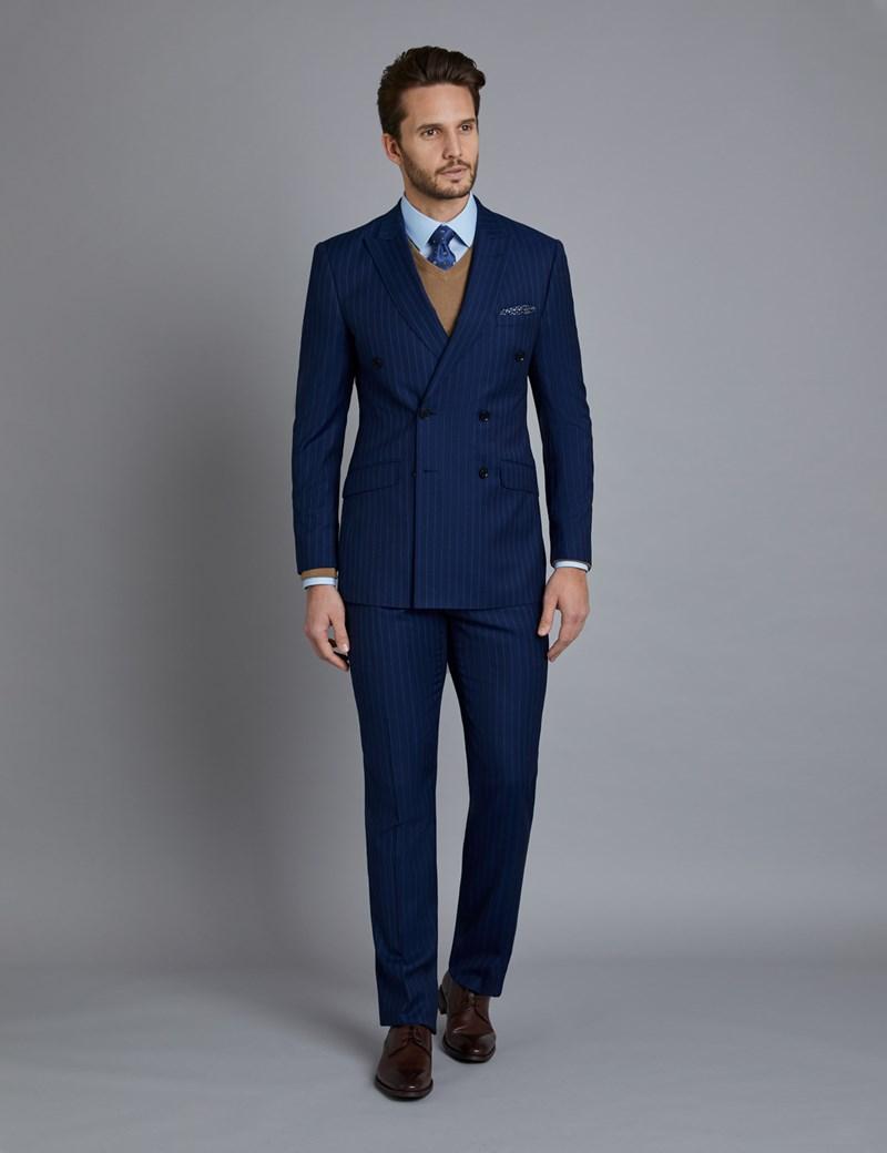 Men's Indigo Tonal Mid Stripe Double Breasted Slim Fit Suit Jacket