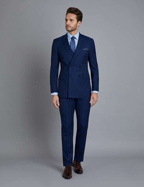 Men's Indigo Tonal Mid Stripe Double Breasted Slim Fit Suit