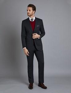 Men's Dark Grey Stitch Stripe Slim Fit Suit Jacket