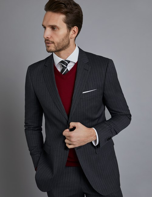Men's Dark Grey Stitch Stripe Slim Fit Suit Jacket