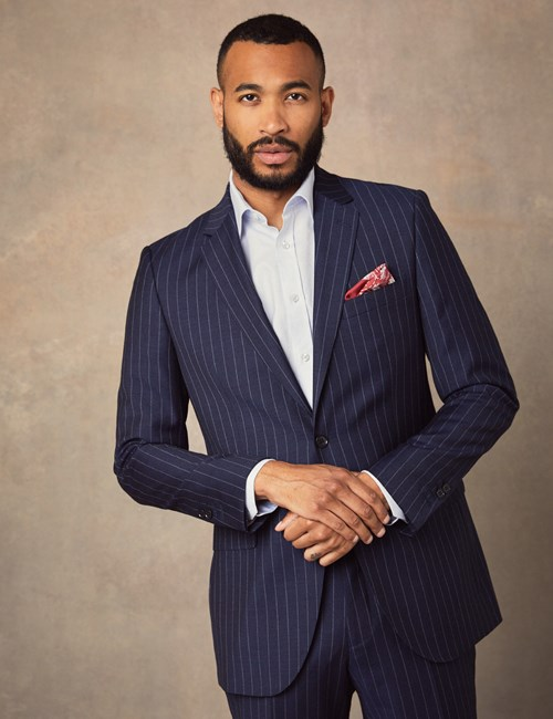 Men's Navy Chalk Stripe Classic Fit Suit Jacket