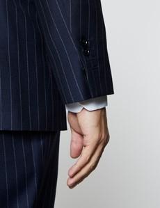 Men's Navy Chalk Stripe Classic Fit Suit Jacket