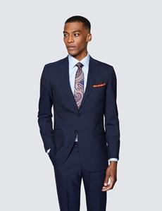 Men's Navy Tonal Stripe Slim Fit Suit Jacket