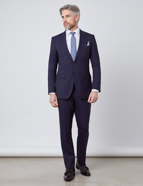 Anzug - Slim Fit - Streifen navy - 100S Wolle - 2-Knopf Einreiher