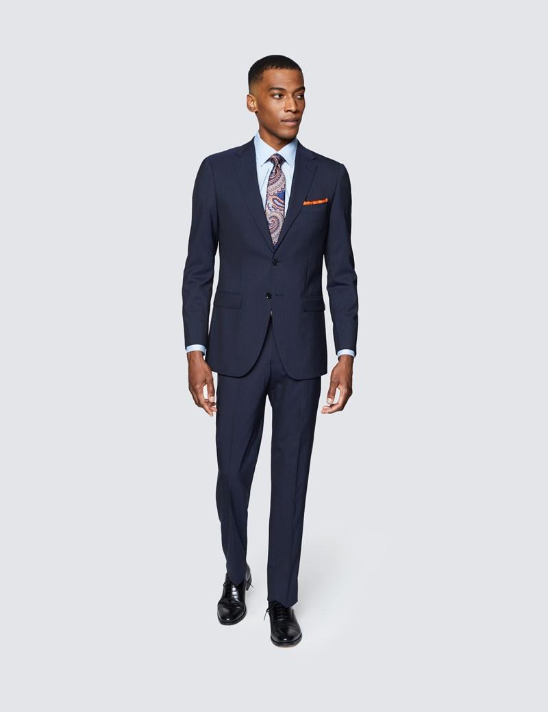 Men's Navy Tonal Stripe Slim Fit Suit