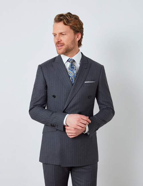 Men's Dark Grey Stripe Double Breasted Slim Fit Suit Jacket