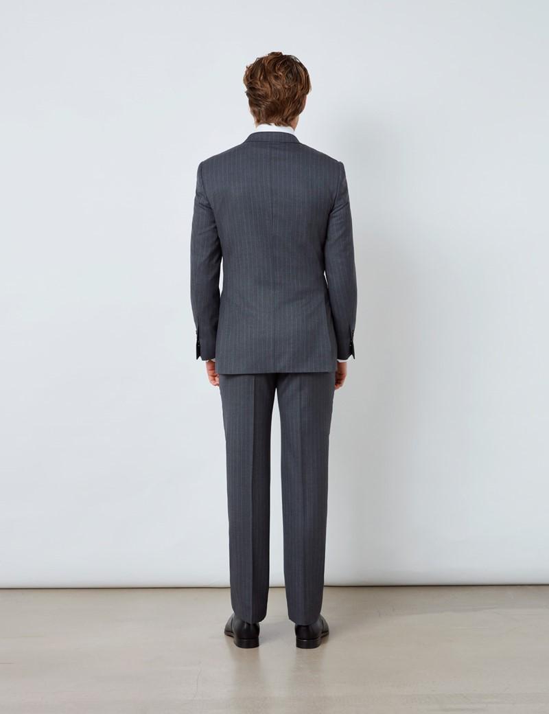 Anzugsakko – Slim Fit – 120S Wolle – Zweireiher – grau gestreift