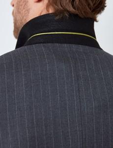 Men's Dark Grey Stripe Double Breasted Slim Fit Suit