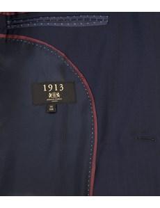 Men's Navy Herringbone Stripe Tailored Fit Italian Suit Jacket - 1913 Collection