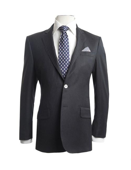 Men's Charcoal & Blue Medium Stripe Slim Fit Suit Jacket - 1913 Collection