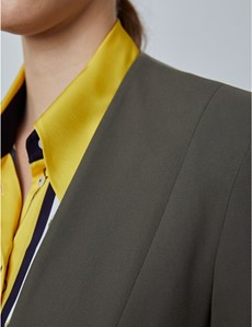 Women's Olive Slim Fit Collarless Suit Jacket