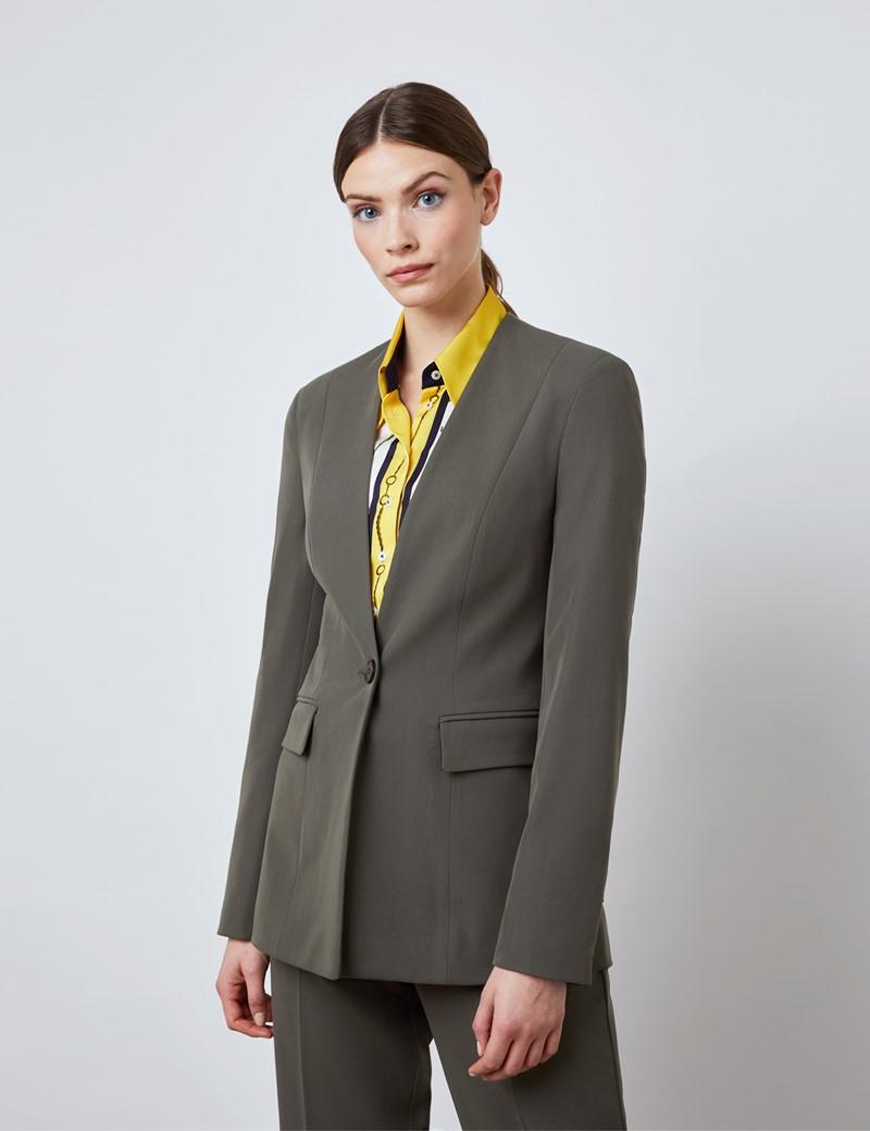 Damen Hosenanzug – Slim Fit – Einreiher – olive