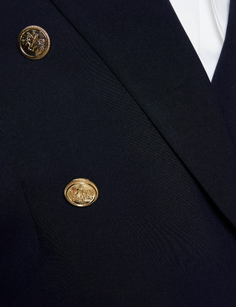 Women's Navy Double Breasted Suit Jacket