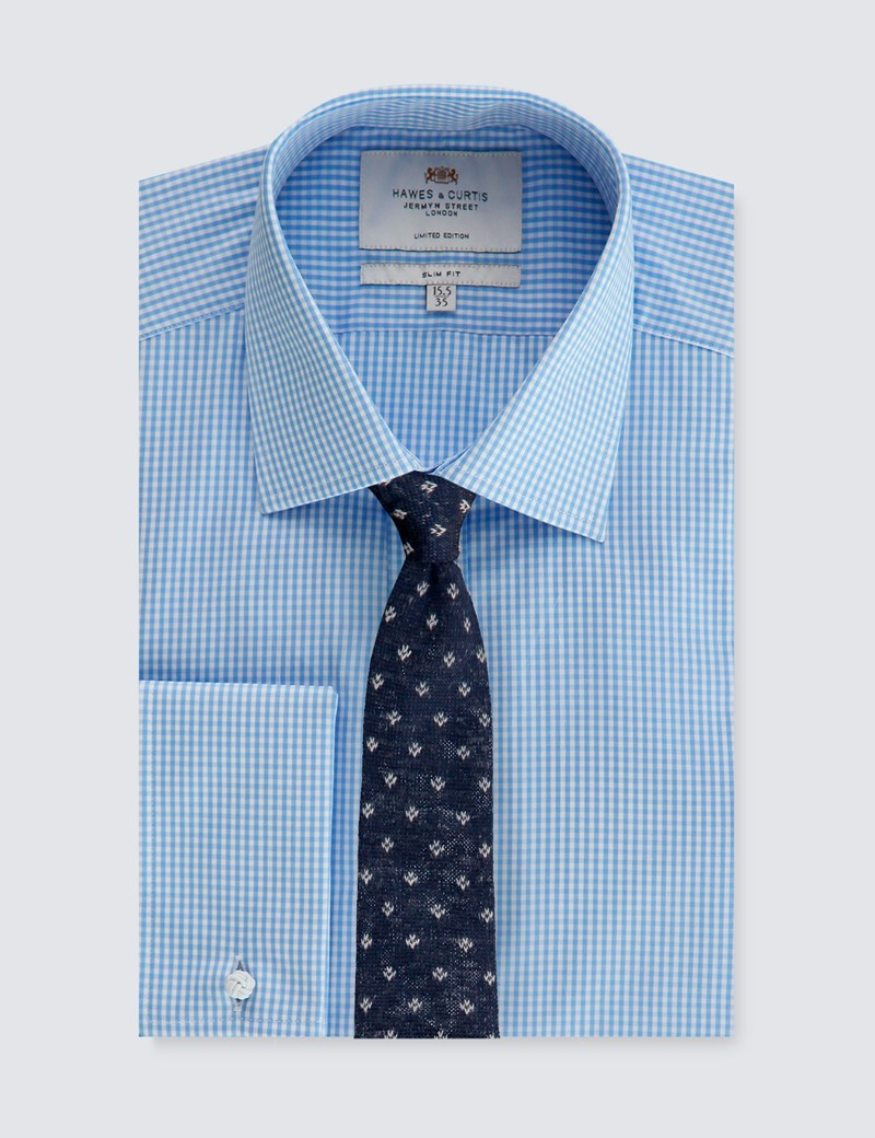Men's Blue & White GIngham Check Slim Fit Business Shirt - Double Cuff - 1913 Collection