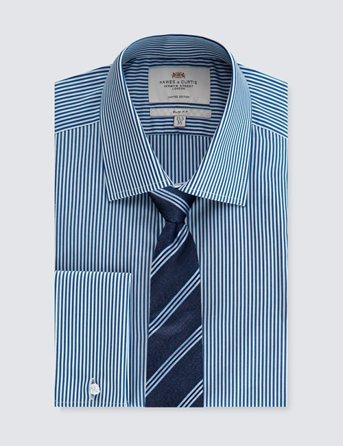 Men's Navy & White Bengal Stripe Slim Fit Business Shirt - Double Cuff - 1913 Collection