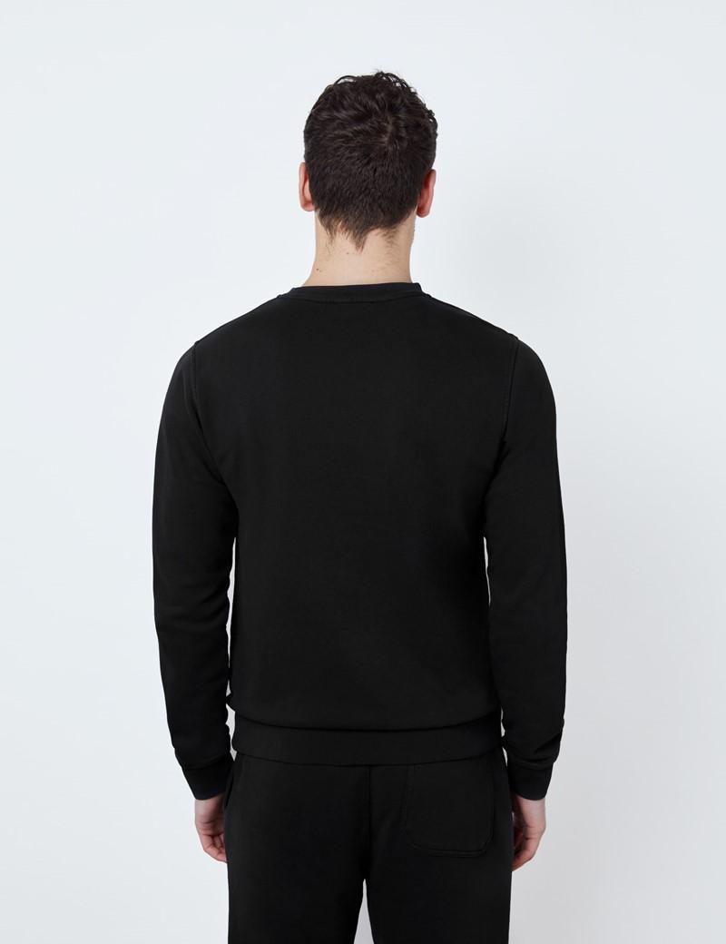 Black Garment Dye Organic Cotton Crewneck Sweatshirt
