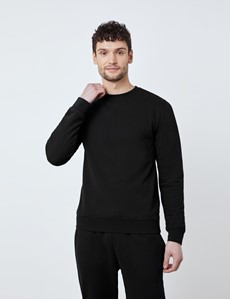 Black Garment Dye Organic Cotton Crewneck Sweatshirt