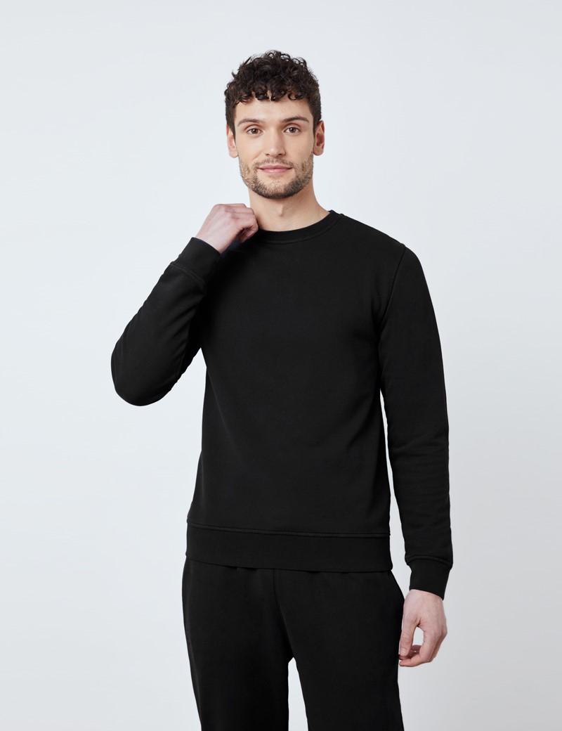 Rundhals Lounge Sweatshirt – Garment Dye – Bio-Baumwolle – Schwarz
